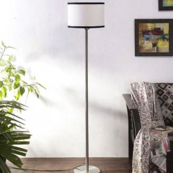 Multicolor Cotton Shade Floor Lamp with Steel Base