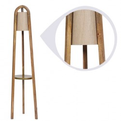 Karly Beige Fabric Shade Floor Lamp with Brown Base