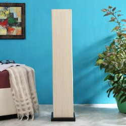 Off White Cotton Shade Floor Lamp with Black Base