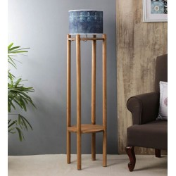 Alari Blue Fabric Shade Floor Lamp with Brown Base