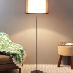 Chanel White Fabric Shade Floor Lamp with Black Base