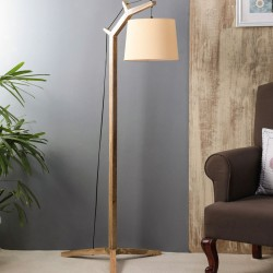 Alpine White Fabric Shade Floor Lamp with Brown Base