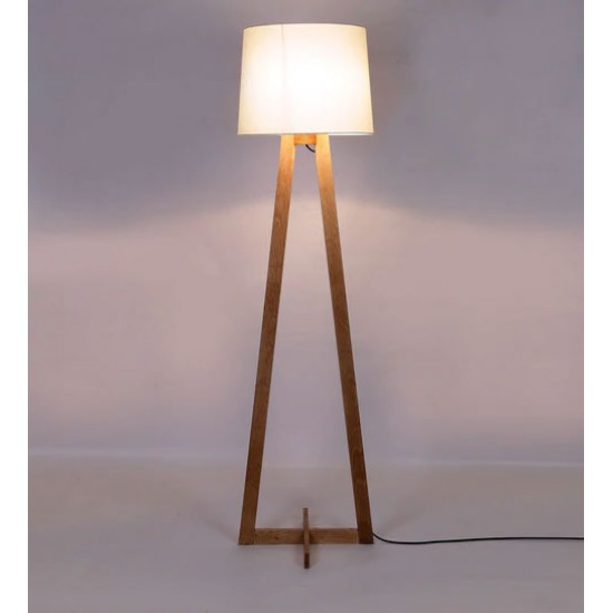 Baguio White Fabric Shade Floor Lamp with Brown Base