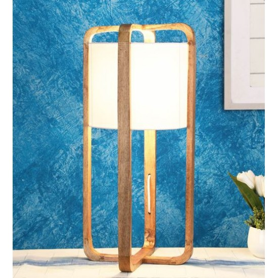Scarlette White Fabric Shade Table Lamp with Beige Base