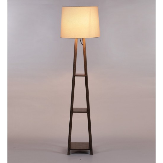 Beige Fabric Shade Floor Lamp with Brown Base