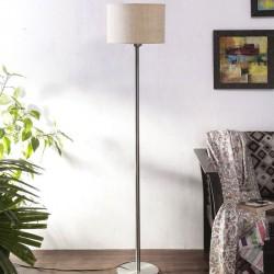 White Jute Shade Floor Lamp with Steel Base