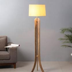 Ramona Beige Fabric Shade Floor Lamp with Brown Base